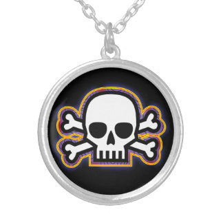Skull and Bones Amulet Silver Plated Necklace