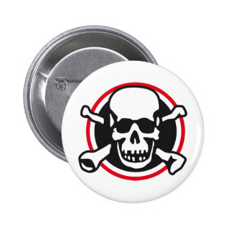 skull and bones and rock and roll button