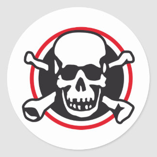 skull and bones and rock and roll classic round sticker