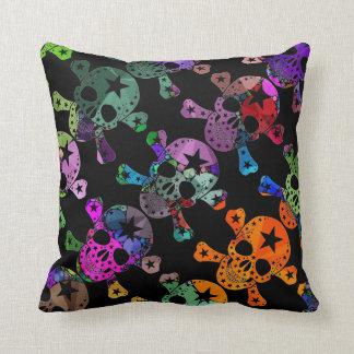Skull and Bones Bling Rainbow/black Mood Pillows Pillow