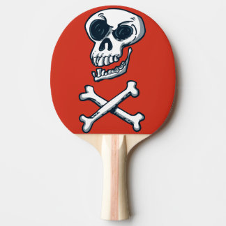 skull and bones cartoon style funny illustration ping pong paddle