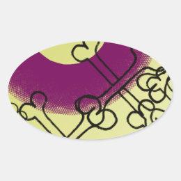 skull and bones gothic purple oval sticker