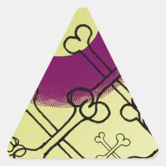 skull and bones gothic purple triangle sticker