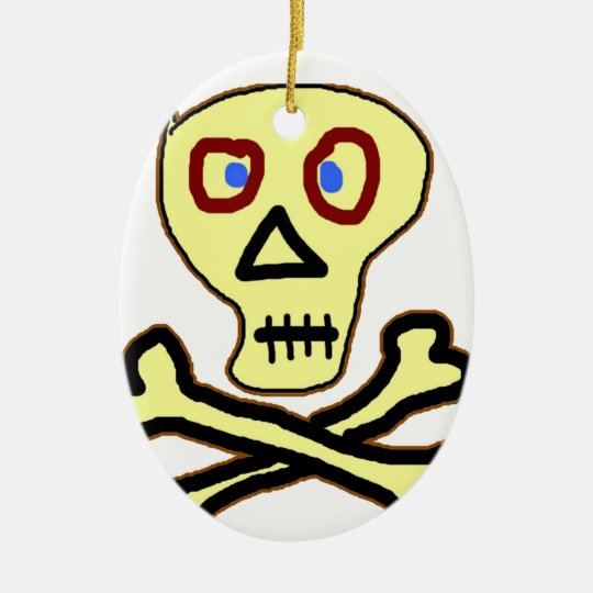 skull and bones graceful dead ceramic ornament