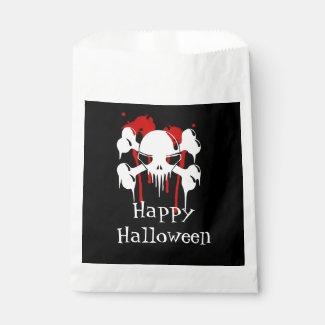 Skull And Bones Happy Halloween Party Favor Favor Bags