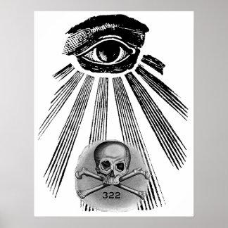 Skull and Bones Illuminati Secret Society Poster