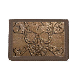 Skull and Bones Metal/Brown Tri-Fold Nylon Wallet