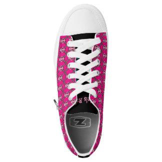 Skull and Bones Pink Fishnet Secret Message Low-Top Sneakers