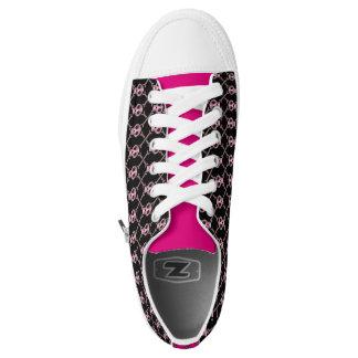 Skull and Bones Pink Fishnet Skeleton Patterned Low-Top Sneakers