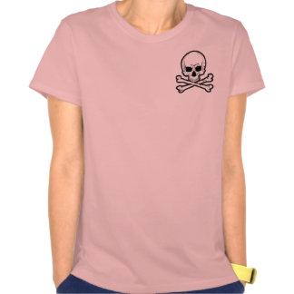 skull-and-bones pink spaghetti straps T-Shirt