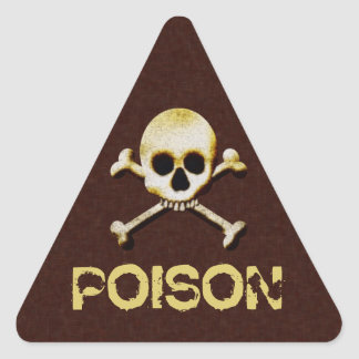 Skull And Bones Poison Halloween Warning Labels Triangle Sticker
