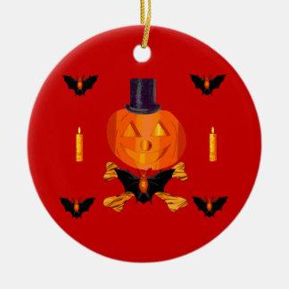 Skull and Bones Pumpkin Ceramic Ornament