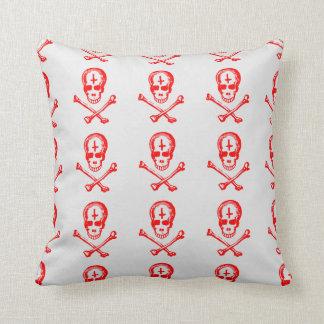 skull and bones satanic style throw pillow