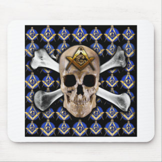 Skull  and Bones Square & Compass Black Mousepad