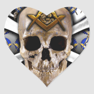 Skull and Bones Square & Compass Black & White Heart Sticker