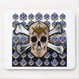 Skull and Bones Square & Compass Black & White Mouse Pad