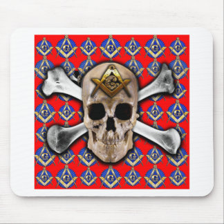 Skull and Bones Square & Compass Bright Red Mousepads