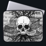 """Skull and Books Laptop Sleeve<br><div class=""""desc"""">A lovely digital collage with skull,  spooky tree,  books,  and the poem &quot;Spirits Of The Dead&quot; by Edgar Allan Poe.</div>"""