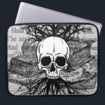 "Skull and Books Laptop Sleeve<br><div class=""desc"">A lovely digital collage with skull,  spooky tree,  books,  and the poem &quot;Spirits Of The Dead&quot; by Edgar Allan Poe.</div>"