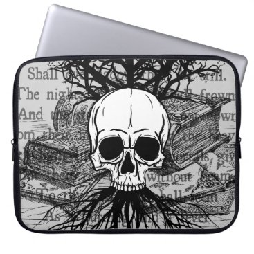 WaywardMuse Skull and Books Laptop Sleeve