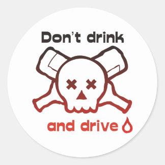 Skull and Bottles-sticker Classic Round Sticker