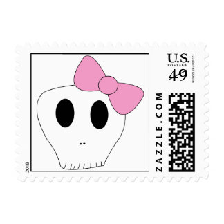 Skull and Bow Postage Stamp