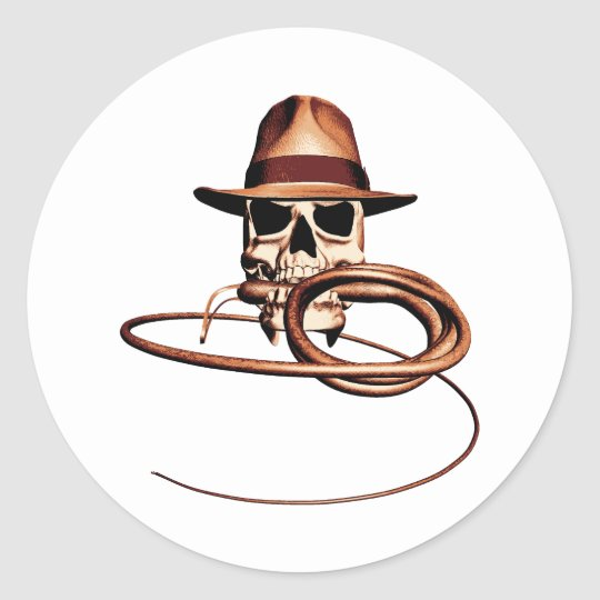 Skull and Bullwhip Classic Round Sticker
