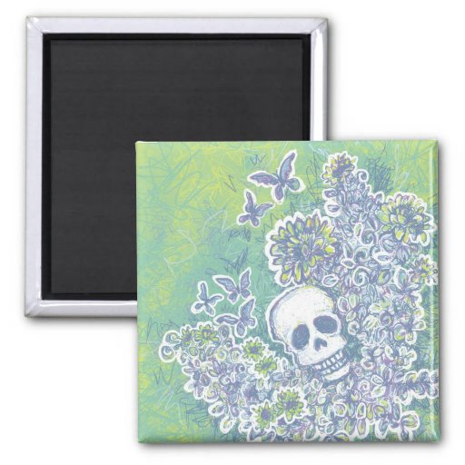 Skull and Butterflies 2 Inch Square Magnet