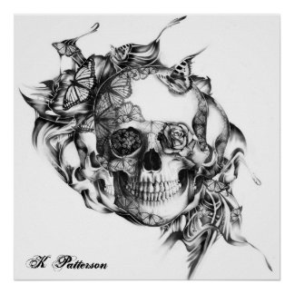 skull and butterflies poster