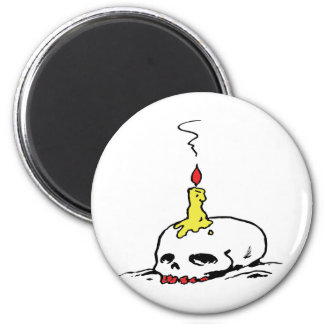 Skull and Candle 2 Inch Round Magnet