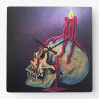 Skull and candle square wall clock