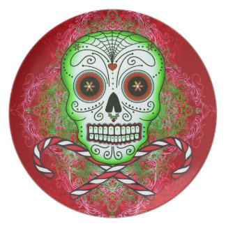 Skull and Candy Canes Plate