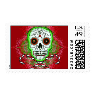 Skull and Candy Canes Postage