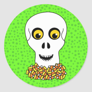 Skull and Candy Corn Halloween Classic Round Sticker