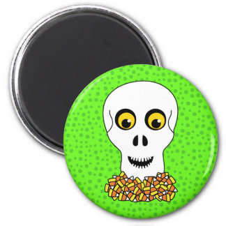 Skull and Candy Corn Halloween Magnet