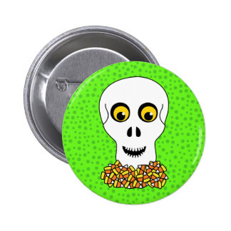 Skull and Candy Corn Halloween Pinback Button