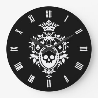 Skull And Card Suits Crest Large Clock