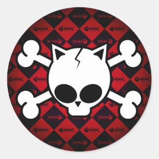 Skull and Cat Bones Classic Round Sticker