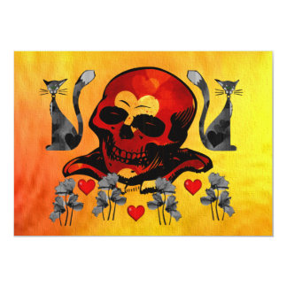 Skull and Cats Card
