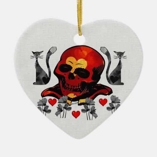 Skull and Cats Ceramic Ornament