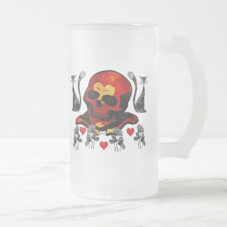 Skull and Cats Frosted Glass Beer Mug