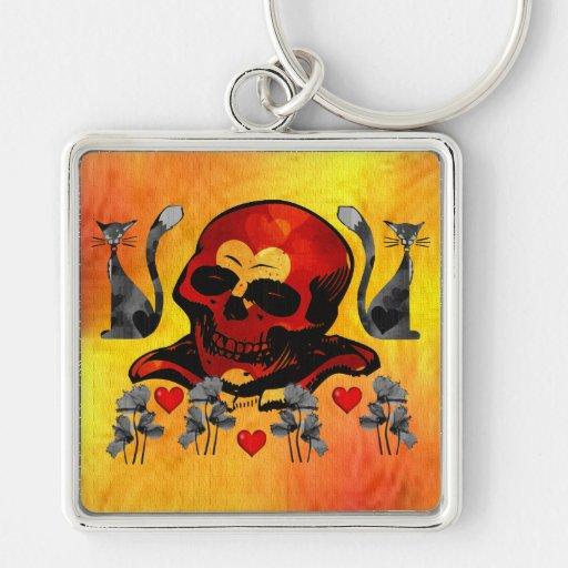 Skull and Cats Keychain