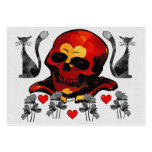 Skull and Cats Large Business Cards (Pack Of 100)