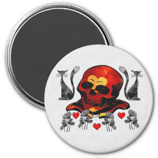 Skull and Cats Magnet