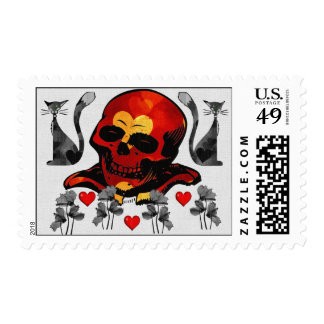 Skull and Cats Stamps
