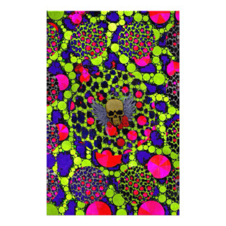Skull and Cheetah Bling Pattern Personalized Stationery