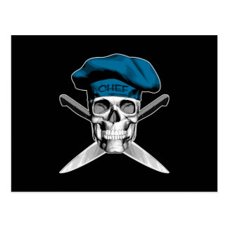 Skull and Chef Knives: Blue Hat Postcard