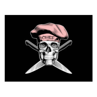 Skull and Chef Knives: Pink Hat Postcard