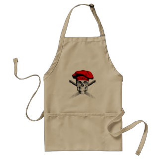 Skull and Chef Knives: Red Hat Adult Apron