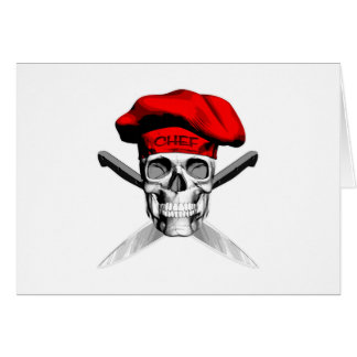 Skull and Chef Knives: Red Hat Card